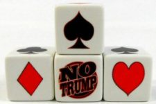 Trump Dice for trick-catching card game players