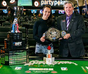 WPT Playground Title Winner Ema Zajmovic Poses with Mike Sexton