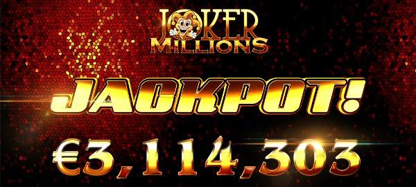 Yggdrasil's Joker Millions Online Slot pays €3.1 Million at Betsson