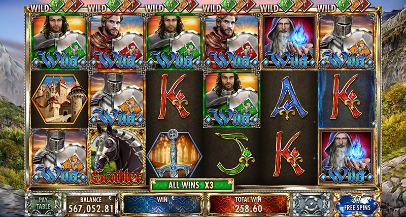 Red Rake Knights Slot Features Wilds