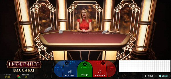 New from Evolution Gaming, Lightning Baccarat